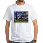 Starry Night Dachshund (Wire) White T-Shirt