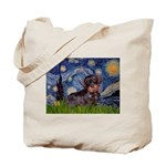 Starry Night Dachshund (Wire) Tote Bag