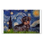 Starry Night Dachshund (Wire) Sticker (Rectangle)