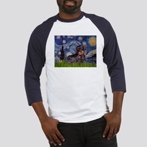 Starry Night Dachshund (Wire) Baseball Jersey