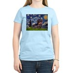 Starry Night Dachshund (Wire) Women's Light T-Shir