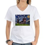 Starry Night Dachshund (Wire) Women's V-Neck T-Shi