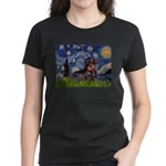Starry Night Dachshund (Wire) Women's Dark T-Shirt