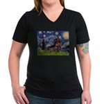 Starry Night Dachshund (Wire) Women's V-Neck Dark