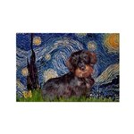 Starry Night Dachshund (Wire) Rectangle Magnet