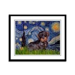 Starry Night Dachshund (Wire) Framed Panel Print