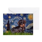 Starry Night Dachshund (Wire) Greeting Cards (Pk o