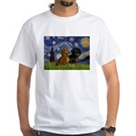 Starry Night Doxie Pair White T-Shirt