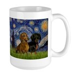 Starry Night Doxie Pair Large Mug