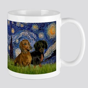Starry Night Doxie Pair Mug