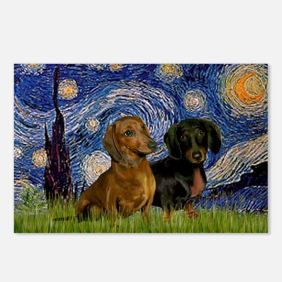 Starry Night Doxie Pair Postcards (Package of 8)
