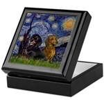 Starry Night Doxie Pair Keepsake Box