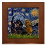 Starry Night Doxie Pair Framed Tile