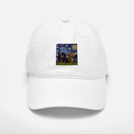 Starry Night Doxie Pair Baseball Baseball Cap