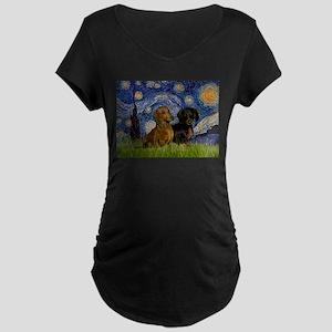 Starry Night Doxie Pair Maternity Dark T-Shirt