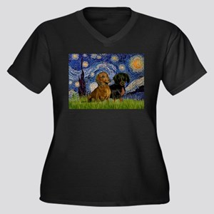 Starry Night Doxie Pair Women's Plus Size V-Neck D