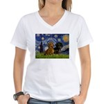 Starry Night Doxie Pair Women's V-Neck T-Shirt
