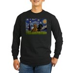 Starry Night Doxie Pair Long Sleeve Dark T-Shirt