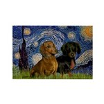 Starry Night Doxie Pair Rectangle Magnet