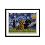 Starry Night Doxie Pair Framed Panel Print