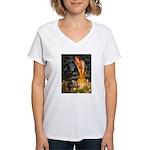 Fairies / Dachshund Women's V-Neck T-Shirt