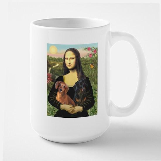 Mona Lisa's Dachshunds Large Mug