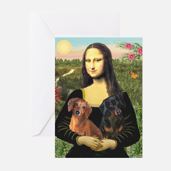 Mona Lisa's Dachshunds Greeting Cards (Pk of 20)
