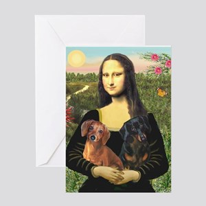 Mona Lisa's Dachshunds Greeting Card