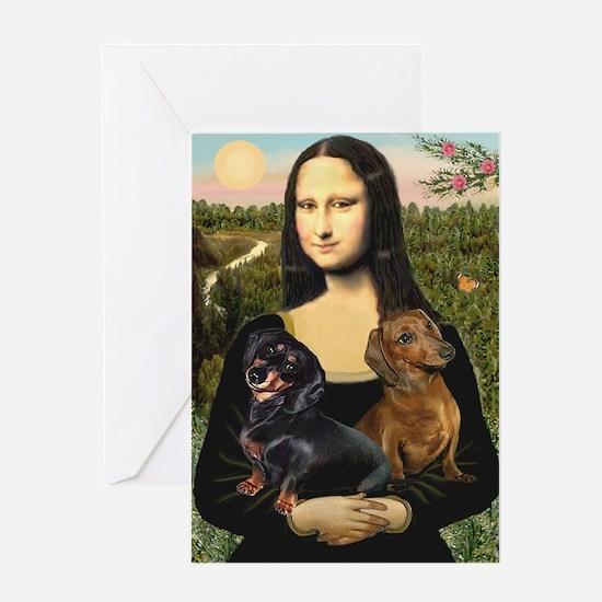Mona Lisa's Dachshunds Greeting Card