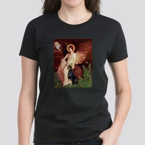 Seated Angel & Dobie Women's Dark T-Shirt