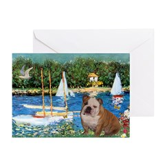 Sailboats /English Bulldog Greeting Cards (Pk of 2