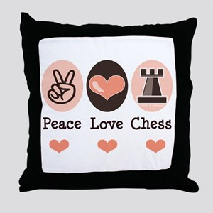 Peace Love Rook Chess Throw Pillow