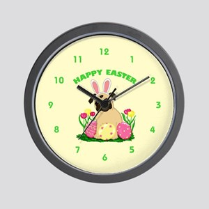 Easter Bunny Pug Wall Clock