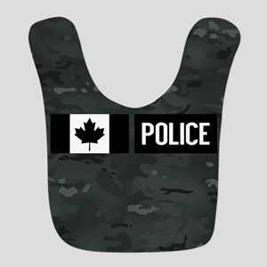 Canadian Police: Black Camoufla Polyester Baby Bib