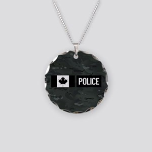 Canadian Police: Black Camou Necklace Circle Charm
