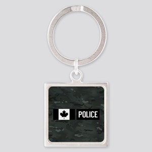 Canadian Police: Black Camouflage Square Keychain