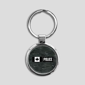Canadian Police: Black Camouflage Round Keychain