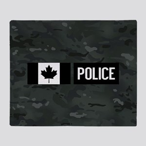 Canadian Police: Black Camouflage Throw Blanket