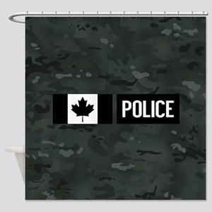 Canadian Police: Black Camouflage Shower Curtain
