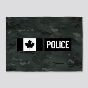 Canadian Police: Black Camouflage 5'x7'Area Rug