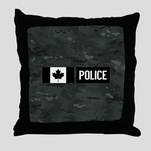 Canadian Police: Black Camouflage Throw Pillow