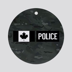 Canadian Police: Black Camouflage Round Ornament