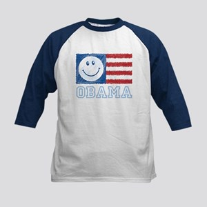 Obama Smiley Flag Kids Baseball Jersey