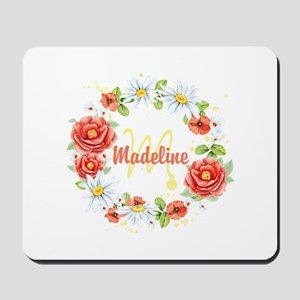 Spring Floral Wreath Monogram Mousepad