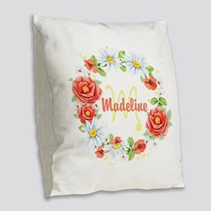 Spring Floral Wreath Monogram Burlap Throw Pillow