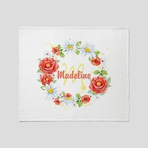 Spring Floral Wreath Monogram Throw Blanket