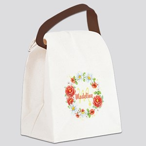 Spring Floral Wreath Monogram Canvas Lunch Bag