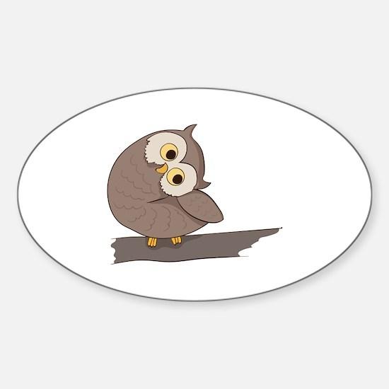 Eule Sticker (Oval)