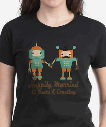 12th Anniversary Vintage Robot Coupl T-Shirt
