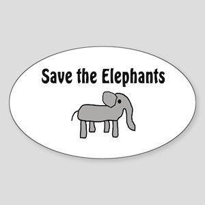 Save the Elephants Oval Sticker